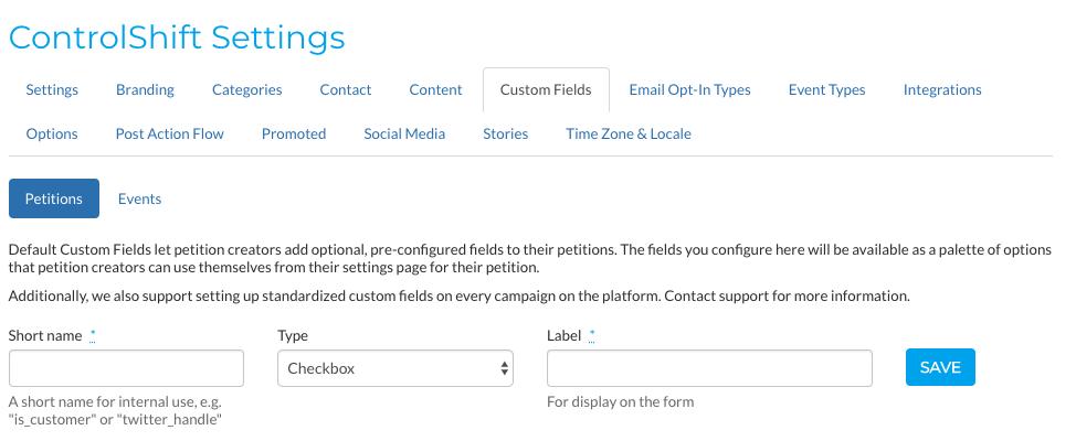 Custom Petition Fields – ControlShift Labs